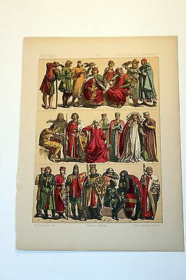 Antique MIDDLE AGES COSTUME Print by F. Hottenroth-1884 GERMAN 13th Century