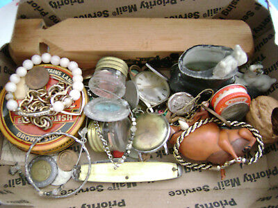 Vintage Lot of Assorted Junk Drawer Items- coins jewelry knife train whistle etc