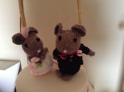 Hand Knitted Mr and Mrs Wedding Mice Cake Toppers