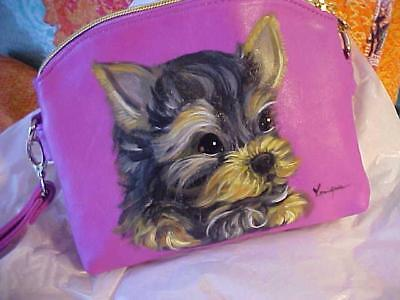 Yorkie Puppy Hand Painted Handbag Purse  In A Jiffy By Monique