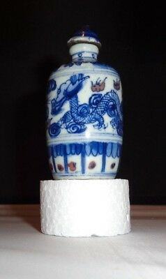 Vintage Chinese Blue and White Porcelain Dragon Snuff Bottle