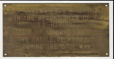 EARLY BRASS PLAQUE for SCREWS from U S S HARTFORD, BATTLE of MOBILE BAY