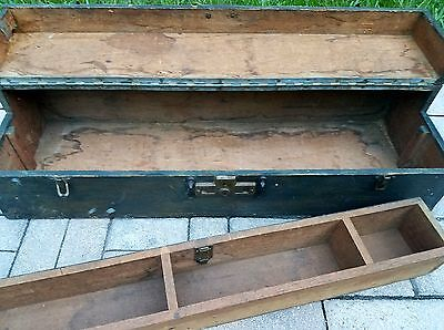 Antique primitive carpenter's wood tool box cabinet Chest farmhouse Vintage