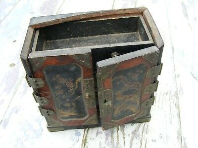 interesting antique/vintage miniature cabinet Asian - Japanese? hand painted
