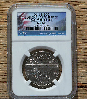 2016-D National Park Clad Half Dollar Ngc Ms-69  Early Releases Flag Label