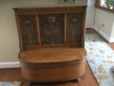 Antique Oak Storage Bench