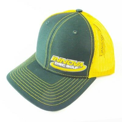 (Green/Gold) - Innova Logo Adjustable Mesh Disc Golf Hat. Delivery is Free