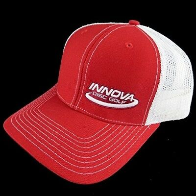 (Red/White) - Innova Logo Adjustable Mesh Disc Golf Hat. Delivery is Free