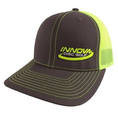 (Gray/Yellow) - Innova Logo Adjustable Mesh Disc Golf Hat. Delivery is Free