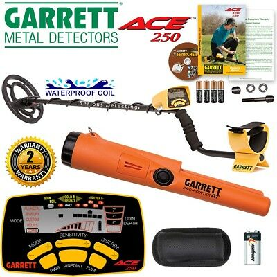 Garrett ACE 250 Metal Detector w/ Pro-Pointer AT and 17cm x 23cm Submersible