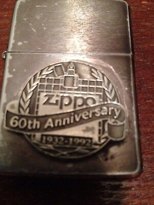 Lot of 2 Zippo lighters 1992 60th Anniversary vintage, and Animal skull w/horns