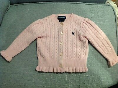 Baby Girls Light Pink Cable Knit Ralph Lauren Cardigan. 9-12 Months