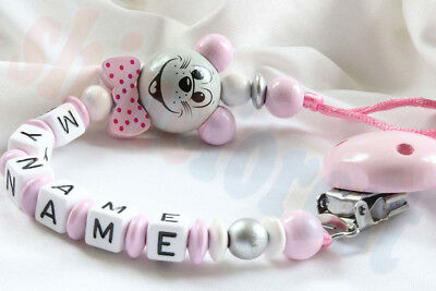 Dummy Clip for Boys and Girls Wooden Personalised Baby Shower Gift Wooden Beaded