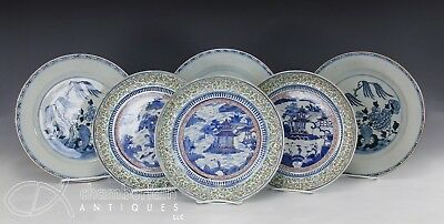 Lot Of Large Antique Chinese Porcelain Plates 18-19C Doucai + Blue And White