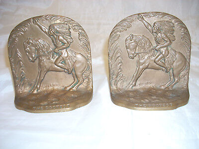 """Vintage Indian Pair Of Solid Bronze Bookends """"the Protest"""" Pat. June 24 - 65036"""