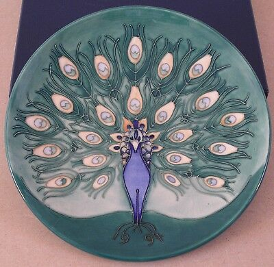 Moorcroft 1994 Year Plate Boxed With COA Number 30 Of 500 Peacock