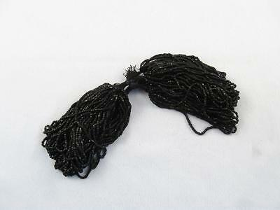 Antique/vintage Hank Of Black Faceted Micro Seed Glass Beads