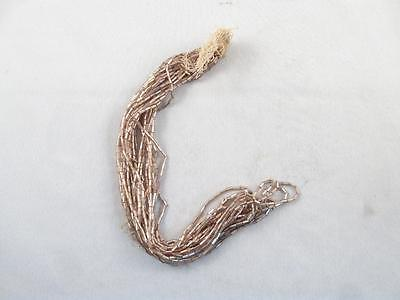 Antique/vintage Hank Of Silver Glass Tube Beads