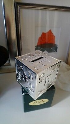Baby christening silver money box. Unwanted gift not used. Ladybird h Samuel