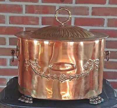 Antique English Copper and Brass Three Piece Coal Ash Hod Scuttle Stunning!