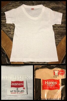 1970s Boys T Shirt HANES RED LABEL White Kids Short Sleeve ROCKABILLY Biker 14
