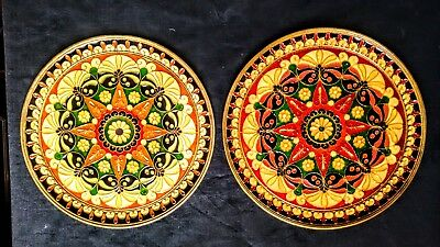 Pair of brass and enamel cloisonne plates