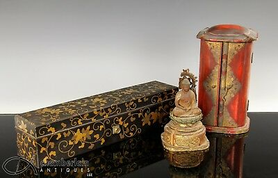 Old Antique Japanese Lacquer Box And Buddha Shrine - Edo Period -