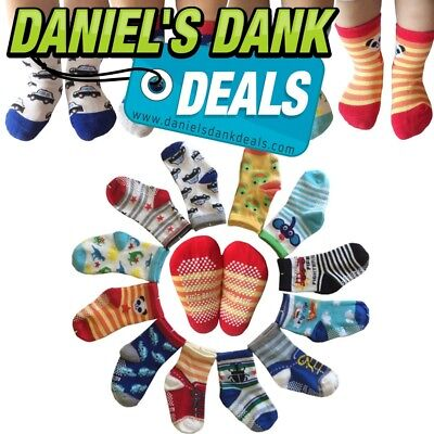 Kakalu Assorted Non-Skid Ankle Cotton Socks with Grip for 12-36 Months Baby, Car