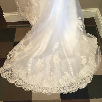 Vintage Wedding Dress Short Sleeves With Veil