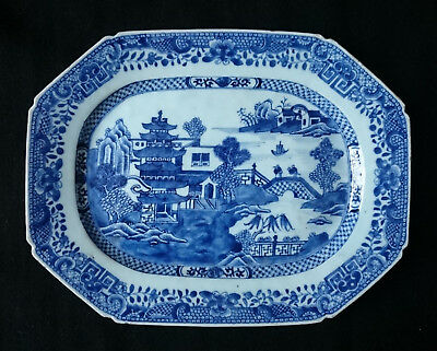 SUPERB ANTIQUE  HANDPAINTED CHINESE UNDERGLAZE BLUE PLATTER QIANLONG c.1760