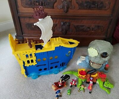 Lot Jake And The Neverland Pirates Mighty Colossus Ship , Skull Island, Hook etc