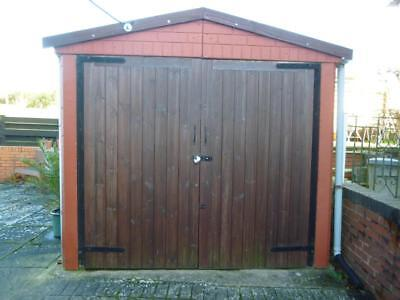 Concrete Sectional Shed/Garage with Wooden Doors (No Roof)