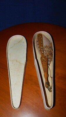 Antique,Victorian Silk Hand Fan Celluloid & Feathered Silk,Sequins orig. box
