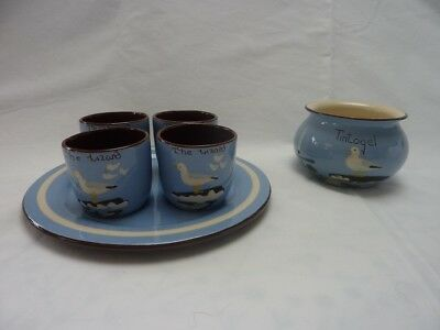 Torquay pottery Babbacombe seagulls egg cups and bowl