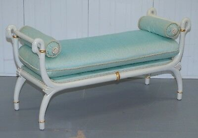 Regency Style Antique Swan Bench Silk Upholstered Cushions Window Seat Chaise