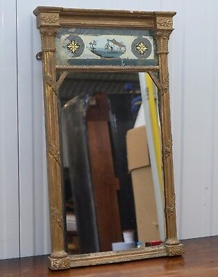 Regency Circa 1815 Gilt Framed Pier Mirror With Reverse Glass Panel Painted