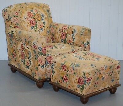 Victorian Club Armchair & Ottman Sprung Back Sides Arms & Base Floral Upholstery