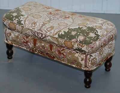 Liberty's London Floral Upholstered Cabriolet Legged Footstool Part Of A Suite