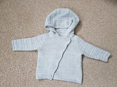 Mothercare hooded soft grey cardigan - baby boy or girl - 0-1 month