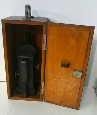 Antique Rare Spencer Microscope #496 Buffalo New York W/original Wood Case