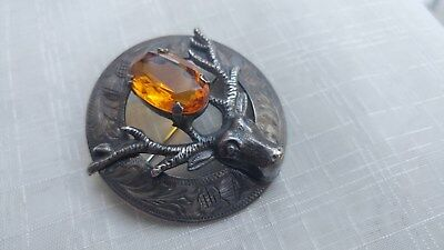 VTG Ward Brothers 1952 Glasgow Sterling Citrine Stag Thistle Brooch Pin