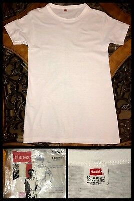 1960s Hanes Boys T Shirt HANESET WHITE Kids Short Sleeve ROCKABILLY Biker Sz 20