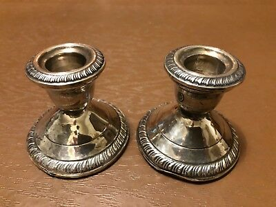 Vintage Crown Sterling Silver Weighted Candle Holders - Pair