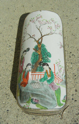 Antique Chinese Porcelain Shard Box Lady Playing Game Cherry Blossom Polychrome