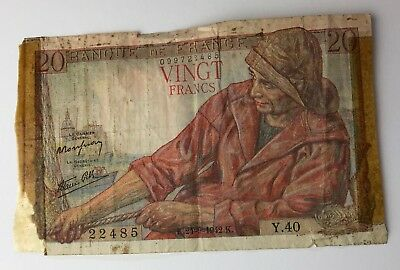 Dated : 1942 - France - 20 Francs - French Banknote - Old Money