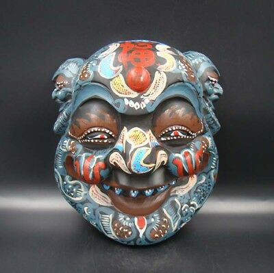 260mm Handmade Carving colored drawing wood Mask Smiling Face Buddha Art Deco