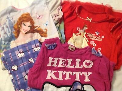 Lovely Bundle 6-7 Yr Old Girls Pjs And Night Dress Disney & Hello Kitty