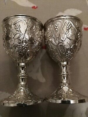 4 Robert Hennell Reproduction Georgian Silverplate Sherry Goblets  (Ba)