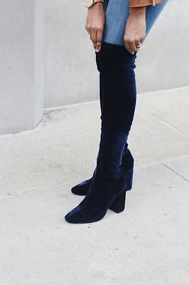 247d271b89d ZARA NAVY BLUE Stretch Velvet Over The Knee Xl High Heel Boots Ref. 6006/201