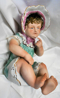 ADORABLE!! Vtg Porcelain Bisque/Glazed Seated Girl wBonnet Piano Baby Figurine
